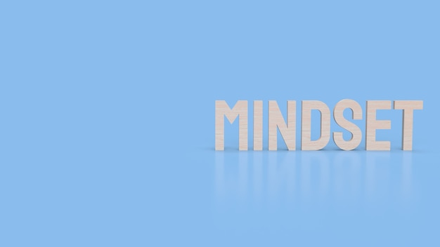 Mindset-wort auf blauer oberfläche