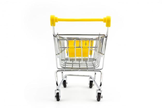 Mini gelbes einkaufswagen-shopkonzept