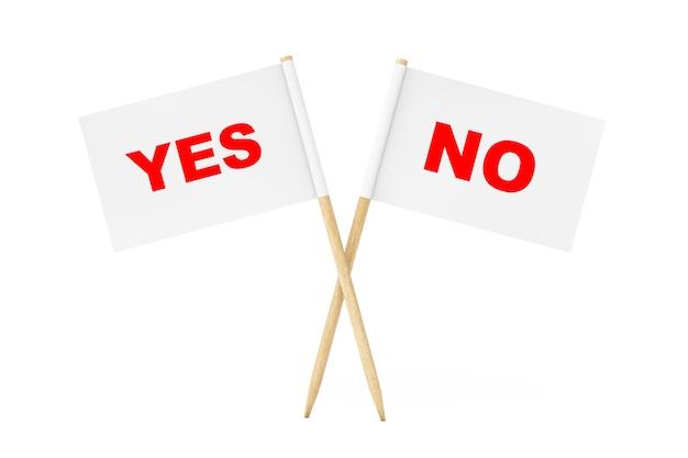 Mini paper pointer flags mit ja- und nein-zeichen auf weißem hintergrund. 3d-rendering.