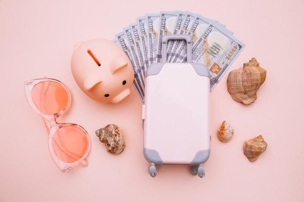 Mini-reisegepäck mit sparschwein und geld