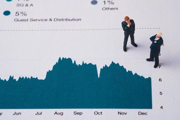 Miniaturfigur der geschäftsleute, die auf investitions- und gewinngraph zur analyse und diskussion steht.