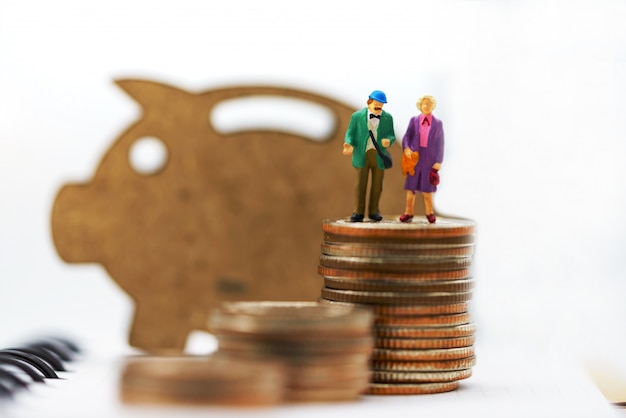 Miniaturleute, glückliches älteres paar, das auf münzenstapel mit hölzernem schwein steht