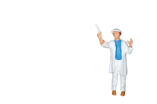 Miniaturleute: maler, der eine bürste lokalisiert auf weißem hintergrund hält