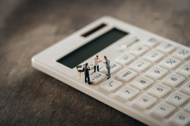 Miniaturmenschen zahlschlange jährliches einkommen (tax) für das jahr auf dem rechner.