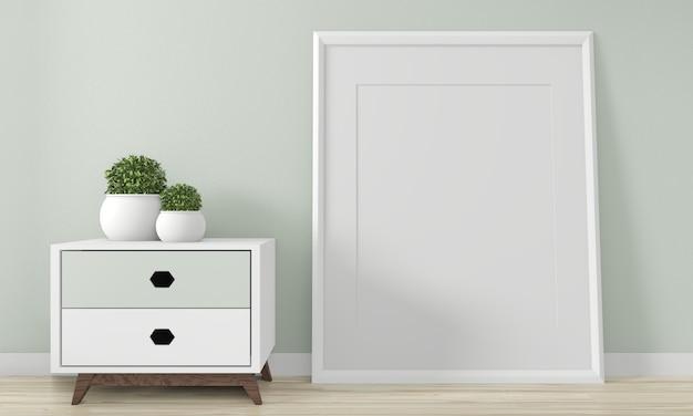 Minikabinettjapan-minimales design und verspotten herauf dekoration auf innenarchitektur des zenraumes 3d rednering