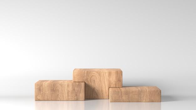 Minimal drei braune feine holzkiste präsentieren podium in weißem hintergrund
