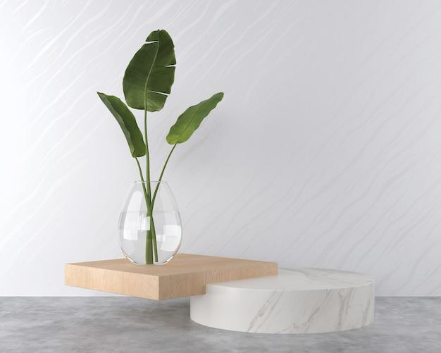 Minimale 3d-rendering-szene mit podium für die präsentation kosmetischer produkte.