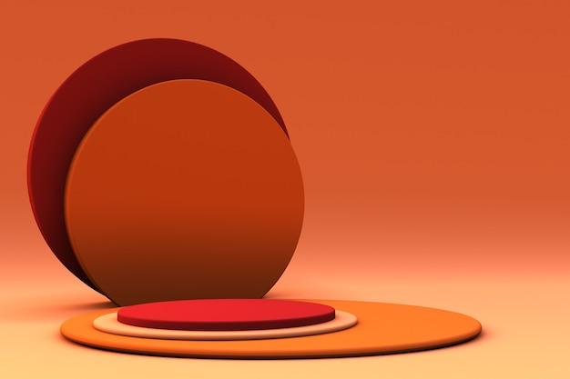 Minimale 3d-szene herbstfarben primitive formen orange und gelbe herbstszene
