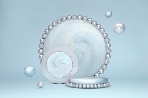 Minimale 3d-szene mit geometrischen formen. stilvolles marmorpodest mit perle auf blauem pastellhintergrund. szene, um kosmetisches produkt, vitrine, ladenfront, vitrine zu zeigen. minimales geometrisches podium.