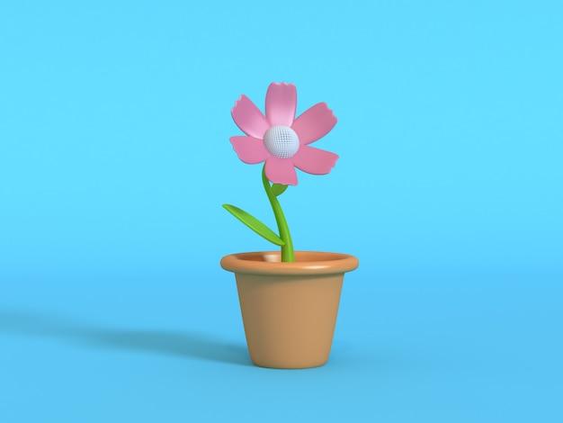 Minimale abstrakte blaue wiedergabe des hintergrundes 3d des rosa blumenkarikaturart-blumentopfes