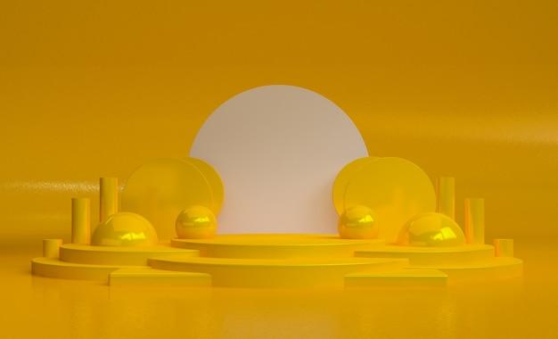 Minimale abstrakte formszene des gelben podiums