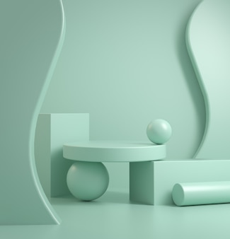 Minimale abstrakte podium primitive geometrie komposition stil 3d-rendering