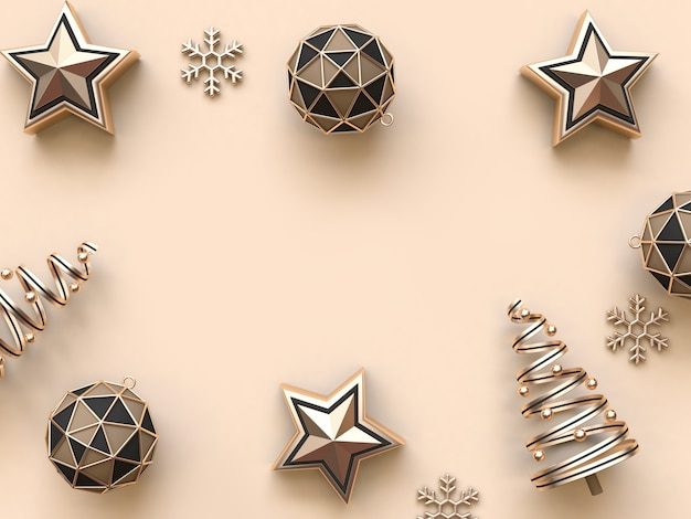 Minimale abstrakte wiedergabe des weihnachtsgegenstanddekorations-hintergrundes 3d
