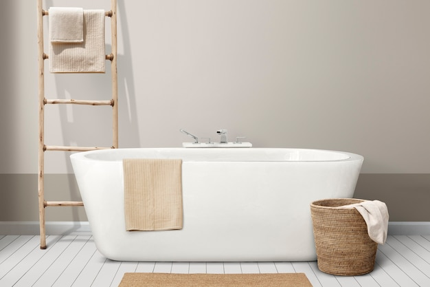 Minimale badezimmereinrichtung mit holzmöbeln
