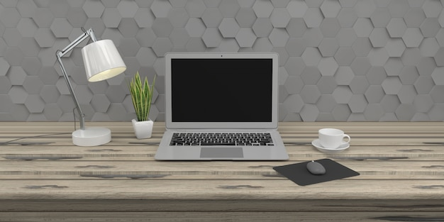 Minimale dachbodenzusammensetzung mit laptop auf holztisch auf konkreter 3d wand 3d übertragen