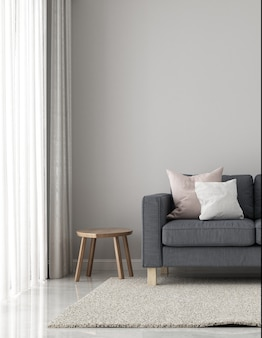 Minimale dekoration und mock-up-wohnzimmer und leere wandtextur-hintergrund-innenarchitektur