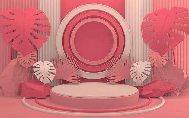Minimale design-produktszene des tropischen abstrakten valentinstagrosa-podiums. 3d-rendering