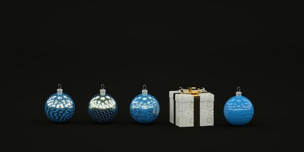 Minimale dunkle weihnachtskomposition mit blauen weihnachtsspielzeugen und geschenkillustration