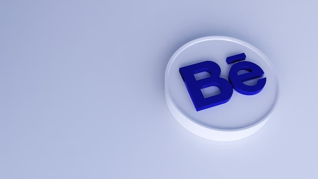 Minimale einfache designvorlage des behance-logos. 3d-rendering für kopierraum