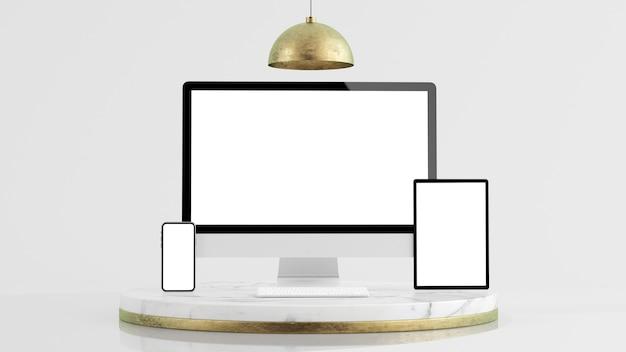 Minimale gerätepräsentationsplattform modell 3d-rendering
