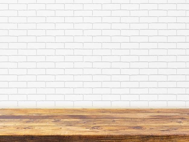 Minimale hölzerne tischplatte auf weißer backsteinmauer