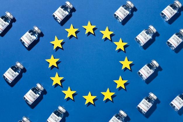 Minimale impfstoffflaschenanordnung mit flagge der europäischen union