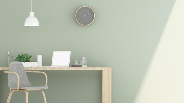 Minimale kaffeestube oder wohnzimmer und wand der wiedergabe 3d verzieren