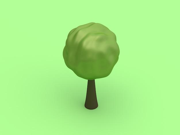 Minimale karikaturart der wiedergabe des runden niedrigen abstrakten polybaums 3d