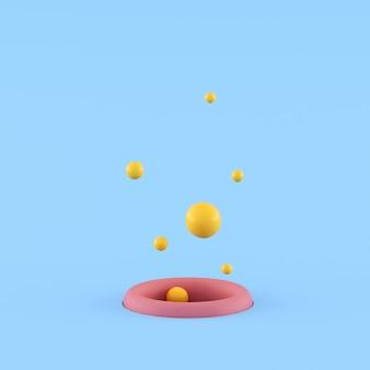Minimale konzeptidee des gelben kleinen balls, der aus rosa loch auf blauem hintergrund herausschwimmt. 3d-rendering.