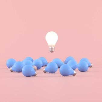 Minimale konzeptionelle idee der glühbirne, die um die blauen glühbirnen auf rosa hintergrund schwebt. 3d-rendering.