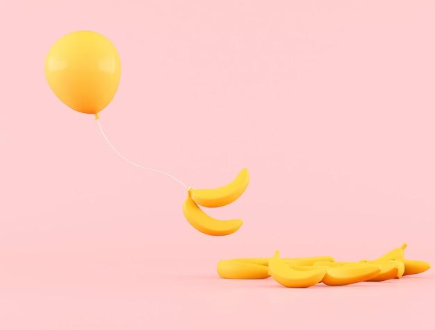 Minimale konzeptionelle idee des gelben schwebenden ballons mit bananen auf rosa hintergrund. 3d-rendering.