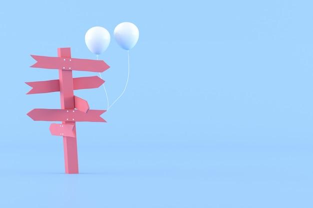 Minimale konzeptionelle idee des rosa wegweisers und der weißen luftballons auf blauem hintergrund. 3d-rendering.