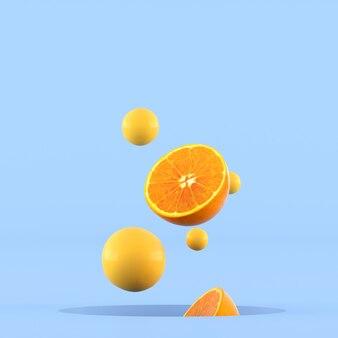 Minimale konzeptionelle idee von geschnittenen orangen und kleiner gelber kugel, die aus loch auf blauem hintergrund herausschwimmt. 3d-rendering.