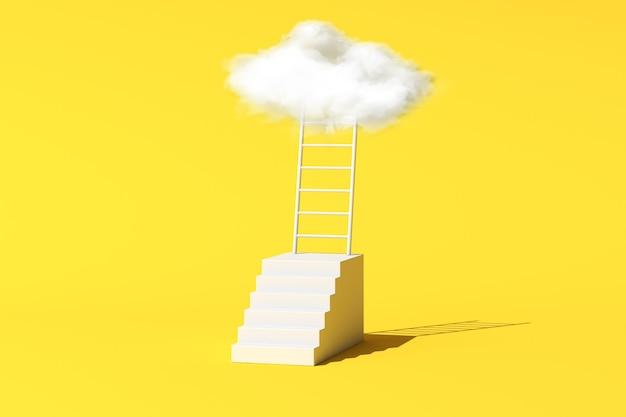 Minimale konzeptionelle szene der schwebenden weißen wolke mit leiter und treppe auf gelbem hintergrund. 3d-rendering.