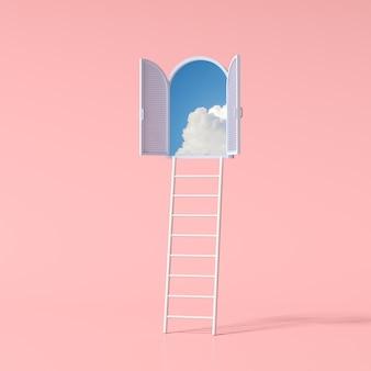 Minimale konzeptionelle szene des blauen himmels in einem bogenfenster und einer leiter auf rosafarbenem hintergrund. 3d-rendering.