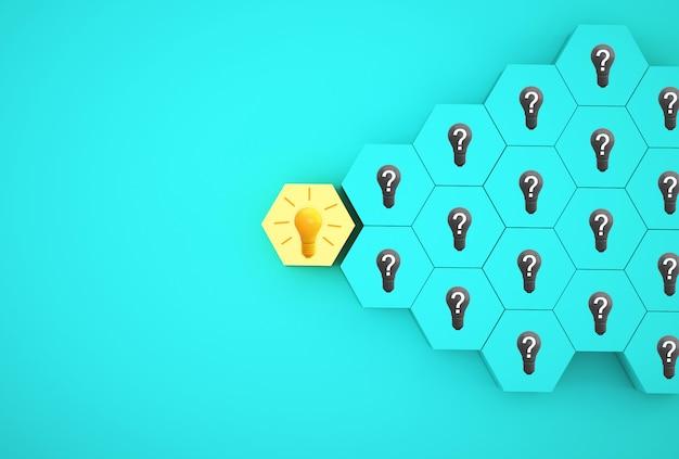 Minimale kreative idee und innovation. glühlampe, die eine idee mit dem fragensymbol und hexagon unterschiedlich auf blauem hintergrund aufdeckt.