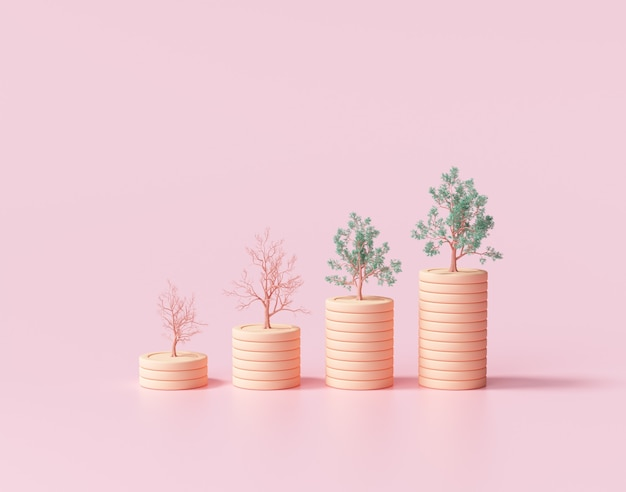 Minimale münzstapel wachsen grafik mit bäumen