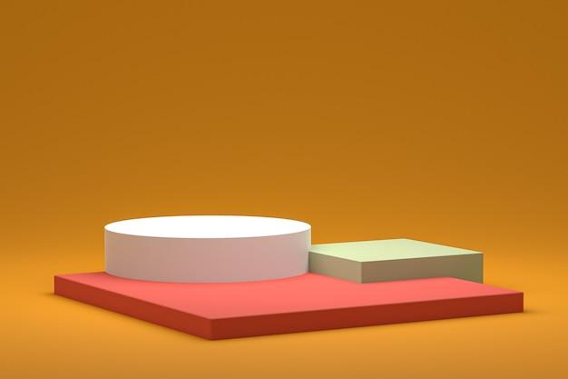 Minimale podest- oder sockelanzeige auf gelbem hintergrund für die präsentation von kosmetikprodukten