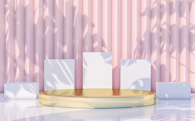 Minimale podiumanzeige mit abstrakten blättern schattenhintergrund. 3d-rendering