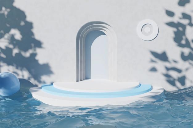 Minimale podiums-3d-außenszenenwiedergabe der geometrischen form