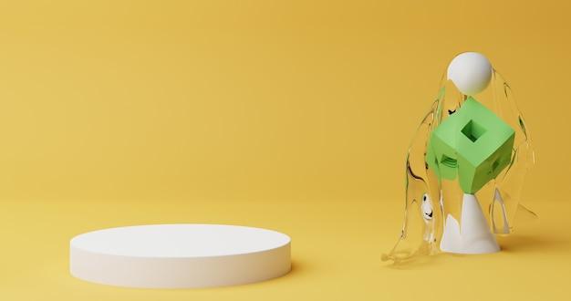 Minimale podiumszene des hintergrunds 3d mit geometrischer plattform. 3d-rendering mit podium. stand, um kosmetische produkte zu zeigen. bühnenvitrine auf sockel modernes studio gelbes pastell