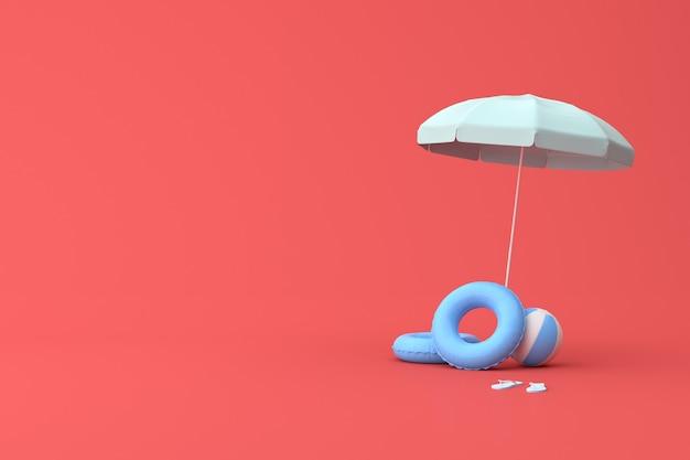 Minimale regenschirmszene mit ball und gummiring, sommerkonzept, 3d-rendering.