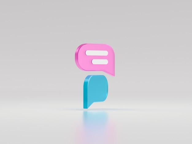 Minimale rosa und blaue chatblase. konzept der social-media-nachrichten. 3d-renderillustration