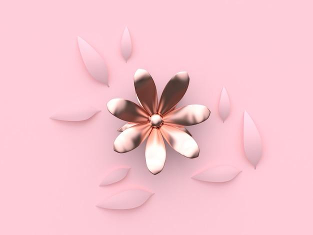 Minimale rosa wiedergabe des hintergrundes 3d der abstrakten rosa metallicrose goldblume