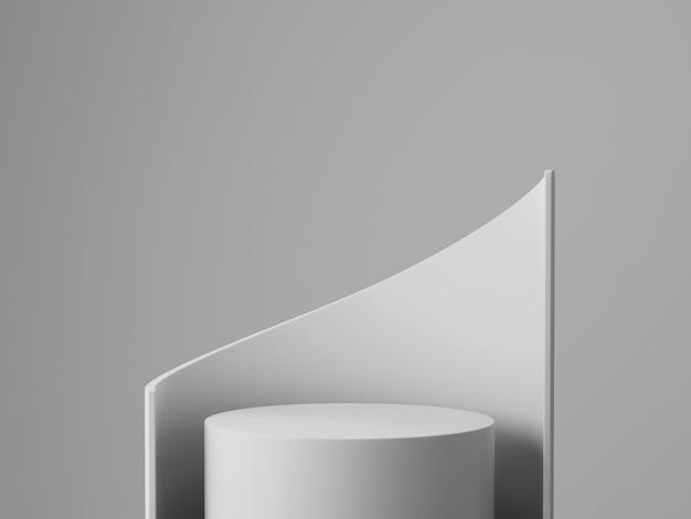 Minimale studiowand des weißen grauen podiums 3d rendern. abstrakte 3d geometrische formobjektillustration rendern. display für kosmetik- und beauty-modeprodukte.