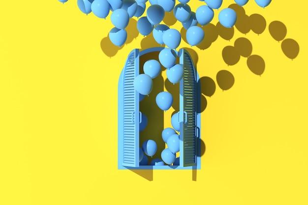 Minimale szene aus bogenfenster und schwebenden ballons auf gelbem wandhintergrund. 3d-rendering.