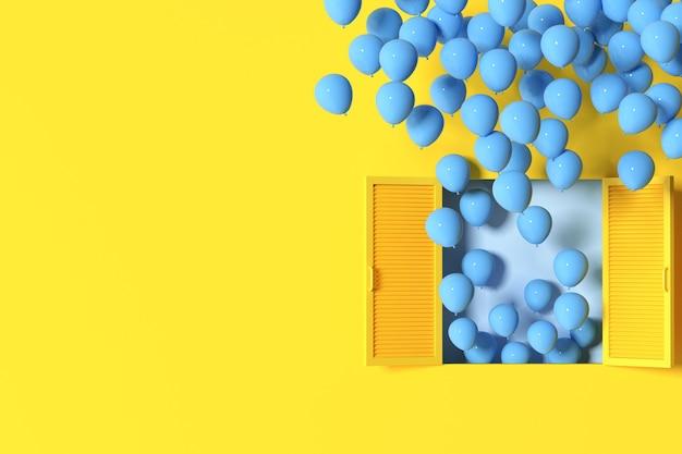 Minimale szene aus fenster und schwebenden ballons auf gelbem wandhintergrund