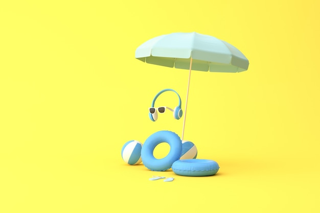 Minimale szene aus regenschirm mit ball und gummiring, kopfhörer, brille