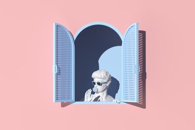 Minimale szene der menschlichen skulptur im blauen fenster auf rosafarbenem wandhintergrund, minimales konzept, 3d-rendering.