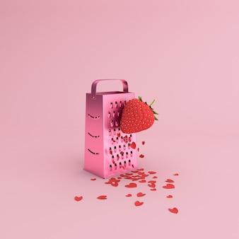 Minimale szene des papierherzens, das durch manuelle erdbeerreibe, valentinskonzept verstreut wird.